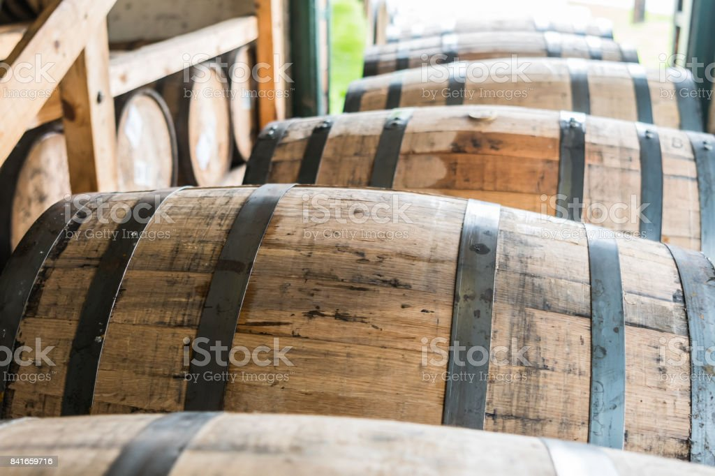 Bourbon Barrels Waiting to Be Placed in Warehouse stock photo