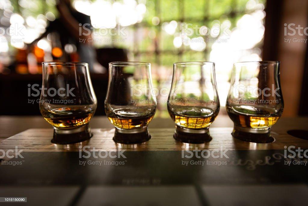 Bourbon Flight with selective focus stock photo