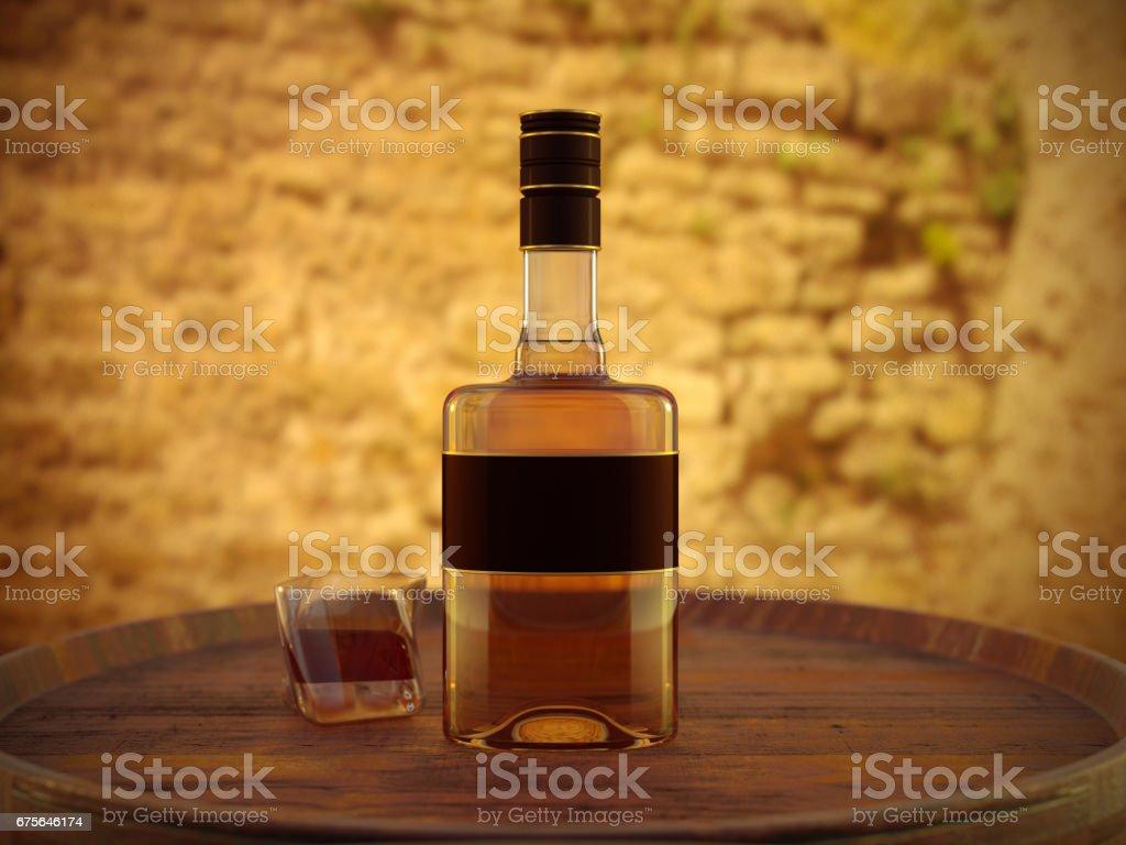 Bourbon on wood barrel stock photo