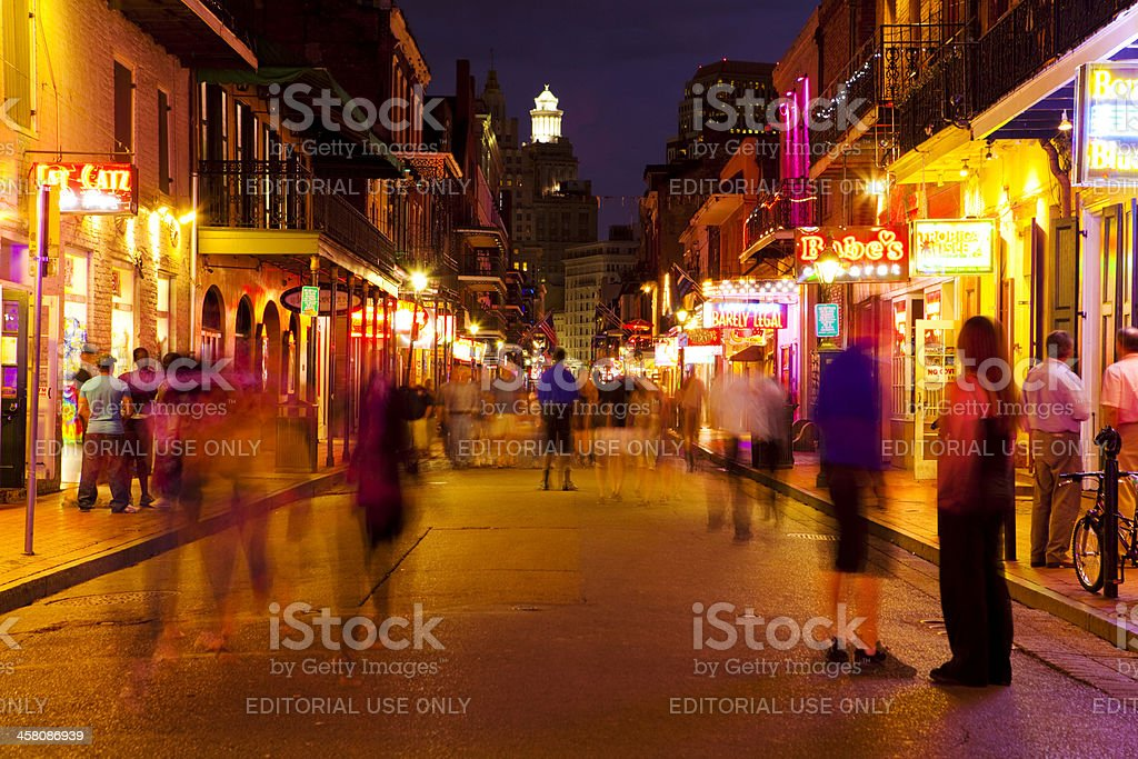 Bourbon Street at Night, New Orleans stock photo