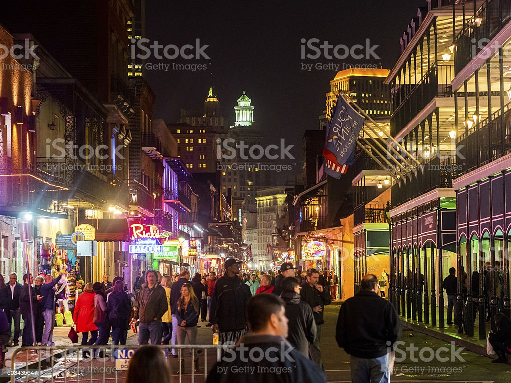 Bourbon Street Crowd, New Orleans stock photo
