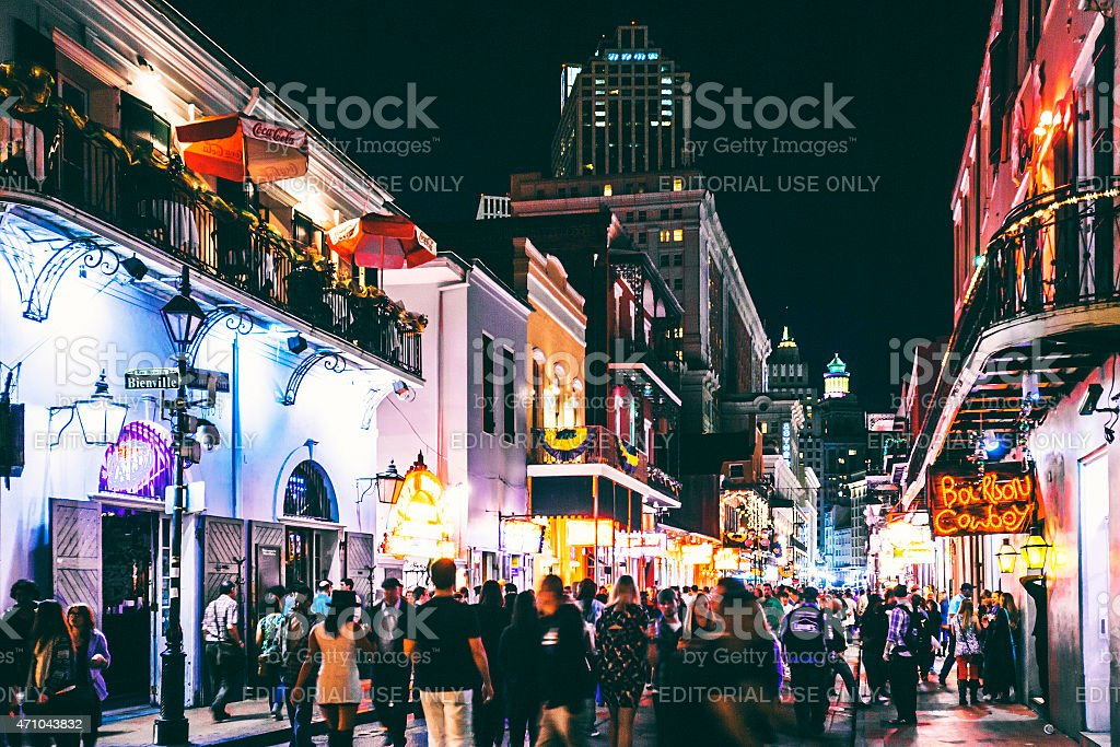 Bourbon Street crowd. stock photo