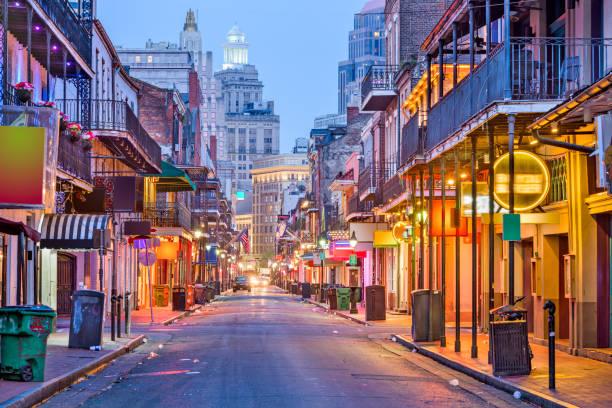 Bourbon Street, New Orleans, Louisiana stock photo