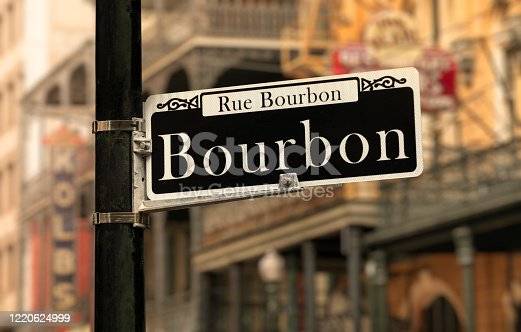 Bourbon Street road sign in the French Quarter New Orleans Louisiana USA