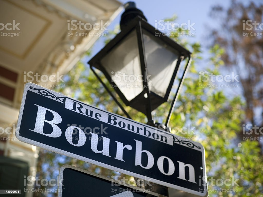 Bourbon Street sign in New Orleans stock photo