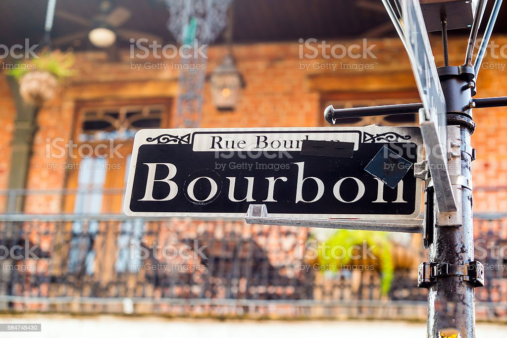 Bourbon Street sign in the French Quarter of New Orleans stock photo