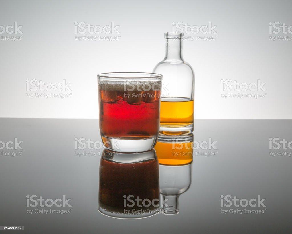 bourbon whiskey on the rocks stock photo