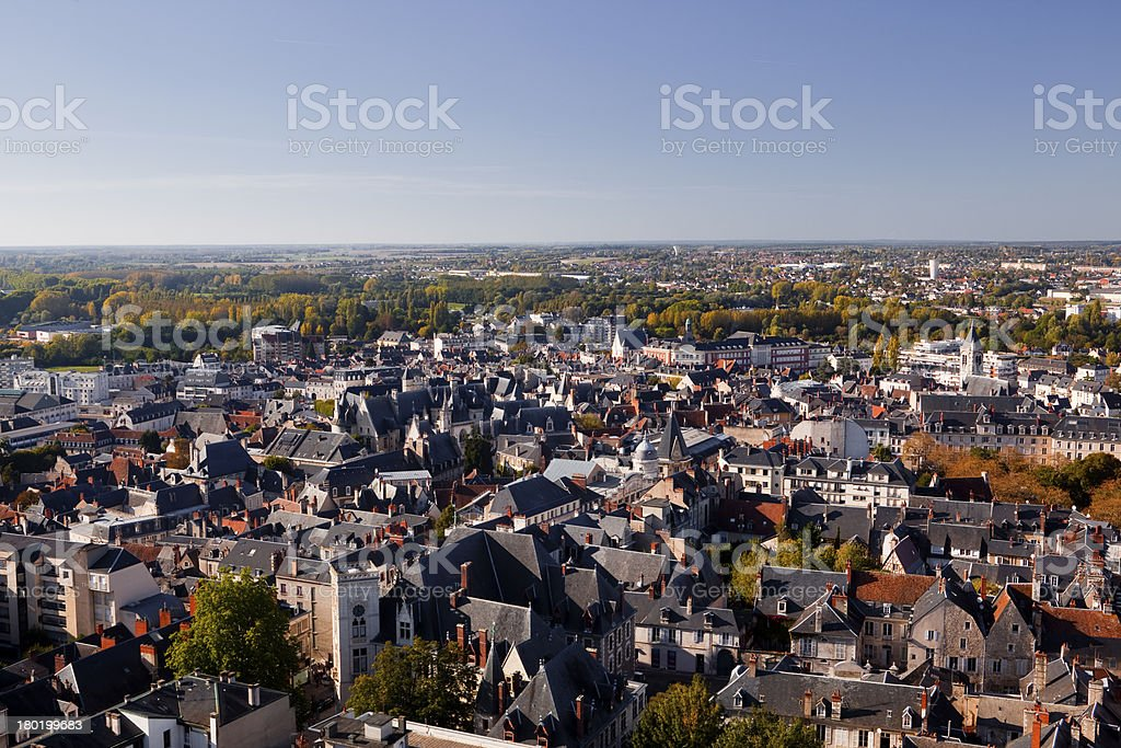 Bourges rooftops stock photo