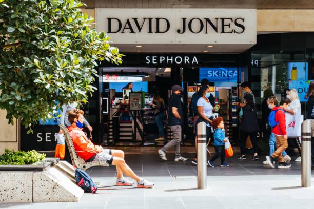 Bourke St Mall Reopens During Coronavirus Pandemic stock photo