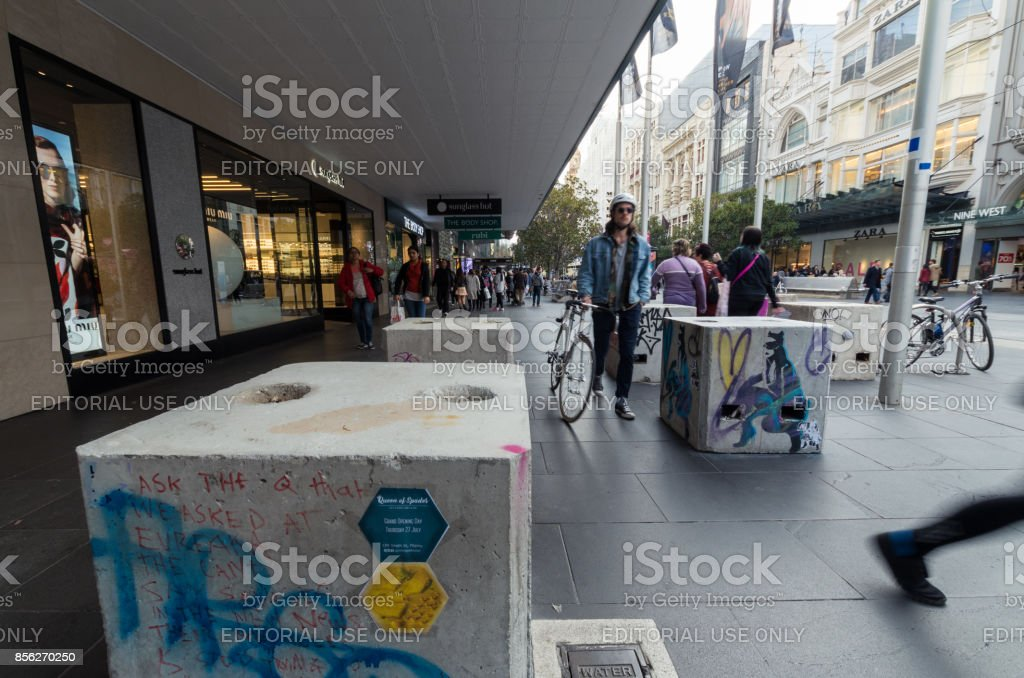 Bourke Street Mall concrete security blocks installed in 2017 stock photo