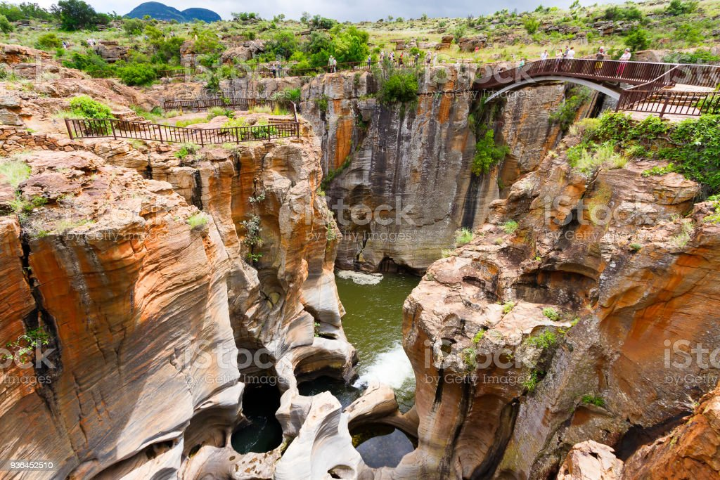 Bourke's Luck Potholes canyons, South Africa stock photo
