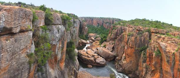 Bourke's Luck Potholes in South Africa - Raging waters have created a strange geological site. stock photo