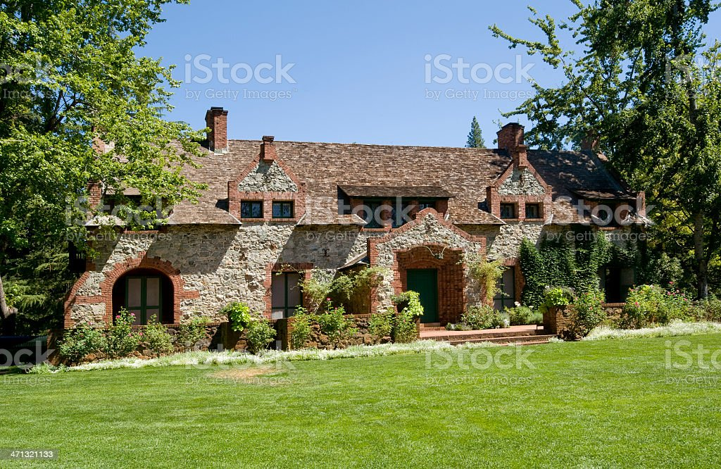 Bourn Cottage, Empire Mine State Park, Grass Valley, CA. stock photo