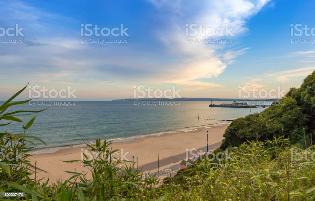 Bournemouth Beach and Pier from East Cliff stock photo