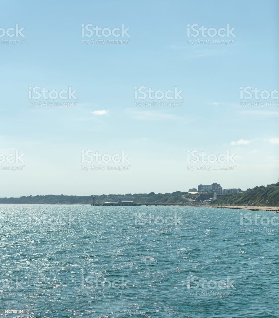 Bournemouth beach and pier in the distance stock photo