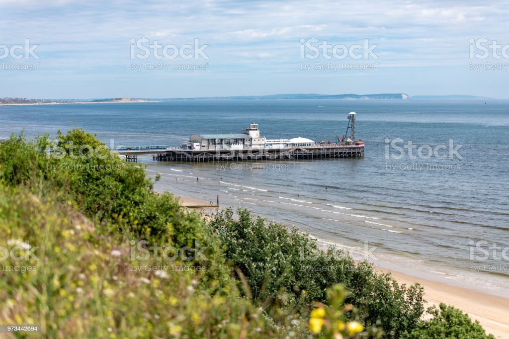 Bournemouth beach and pier on a summers day stock photo