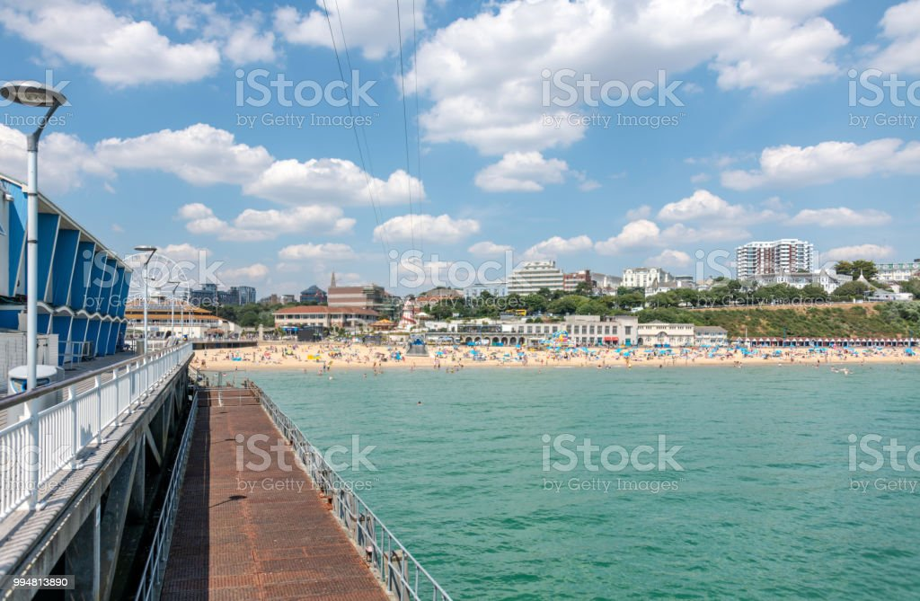 Bournemouth beach and town from the pier stock photo