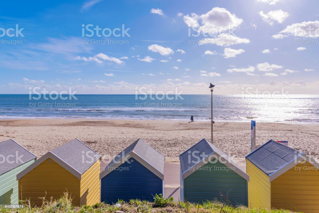 Bournemouth beach huts and sea view stock photo