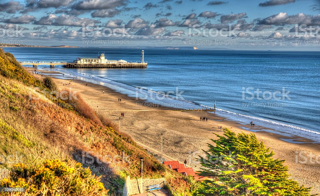 Bournemouth beach pier and coast England UK like painting HDR stock photo