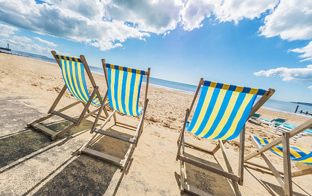 Bournemouth Deck Chairs Angled stock photo