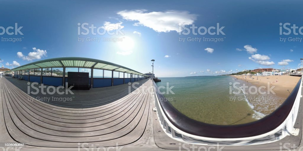 360 VR Bournemouth edge of the pier and beach stock photo