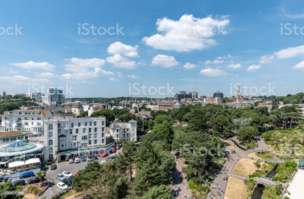 Bournemouth Gardens into town from above stock photo