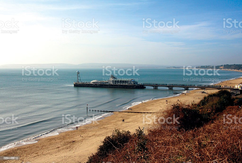 Bournemouth Pier and Beach stock photo