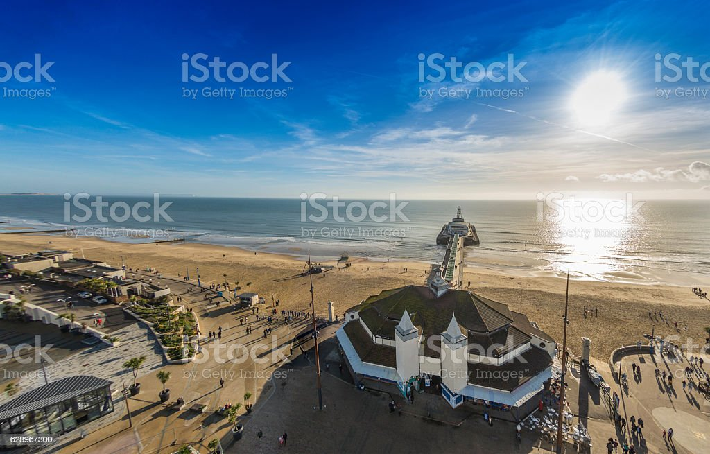 Bournemouth Pier and Beach with a low sun stock photo