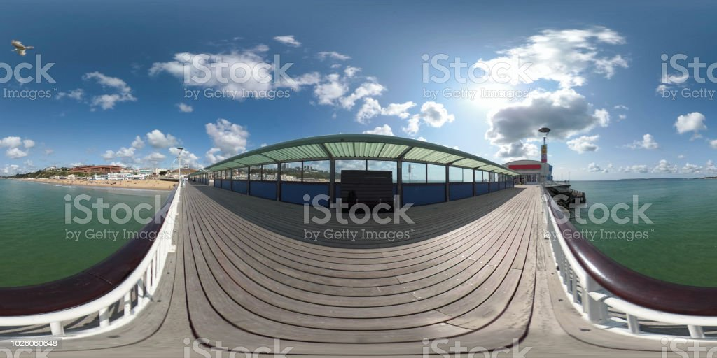 360 VR Bournemouth Pier in the summer stock photo