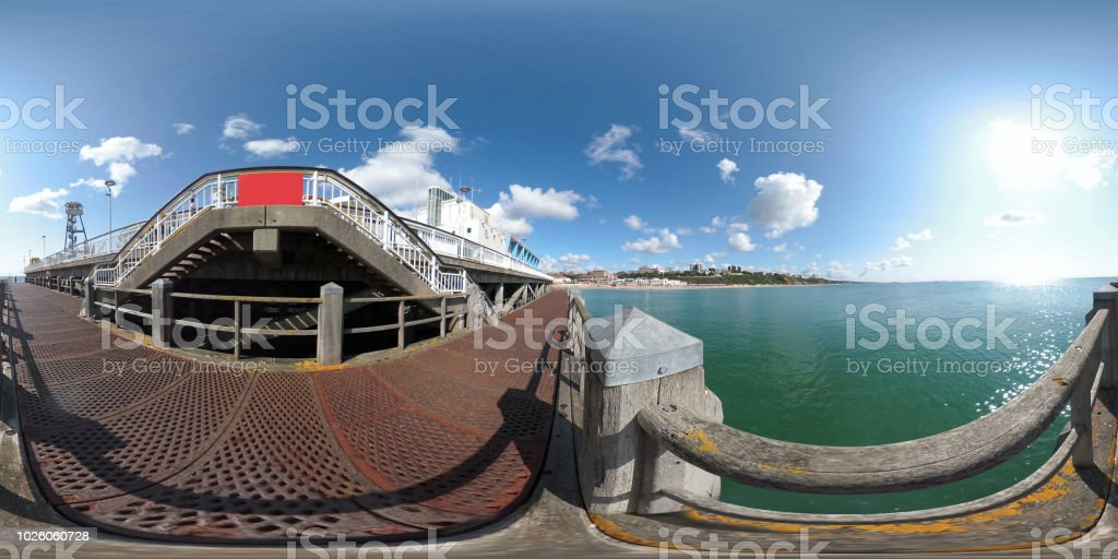 360 VR Bournemouth Pier, lower deck looking out to sea stock photo
