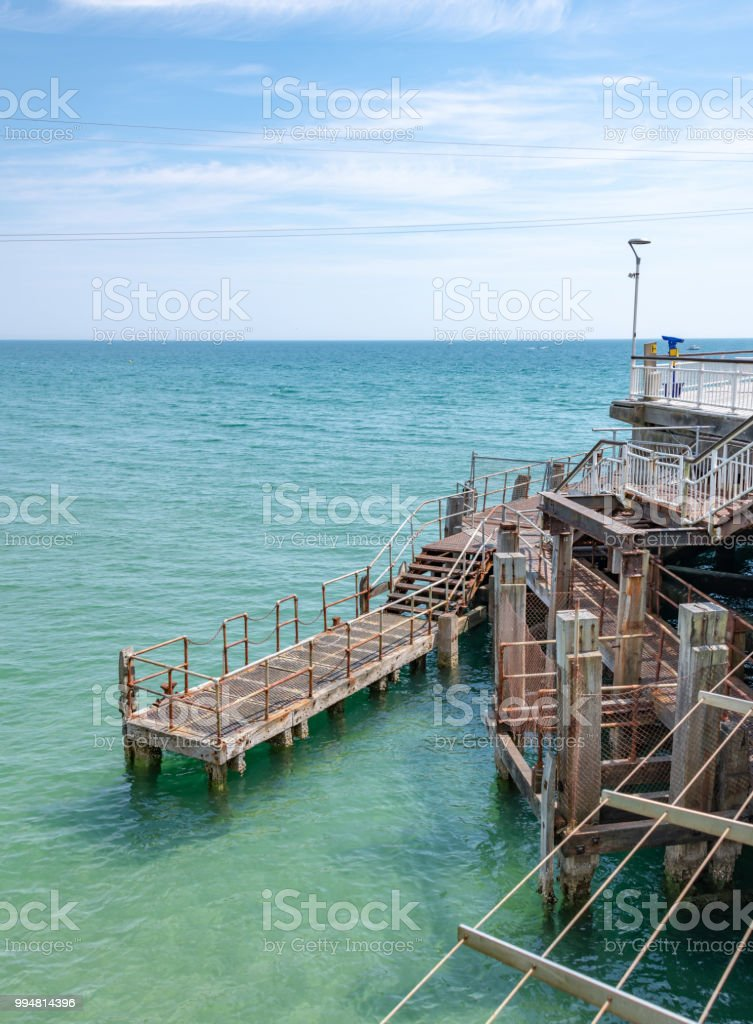Bournemouth pier steps and platform stock photo