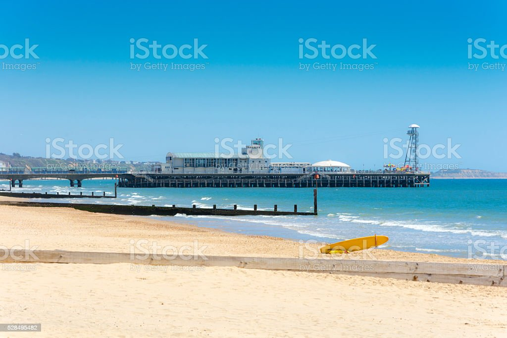 Bournemouth Pier with Zip Wire Tower stock photo