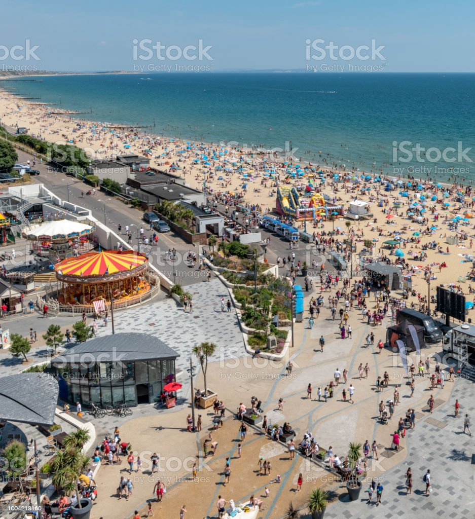 Bournemouth seafront and beach on a summers day stock photo