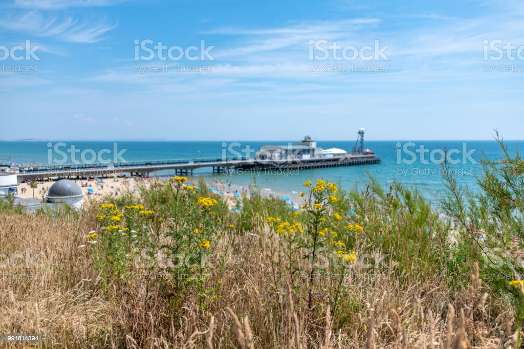 Bournemouth seafront and pier in the summer stock photo