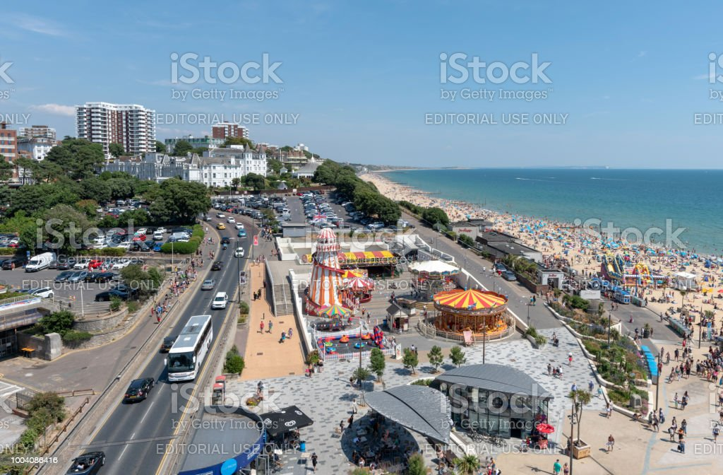 Bournemouth's waterfront and beach on a summers day stock photo