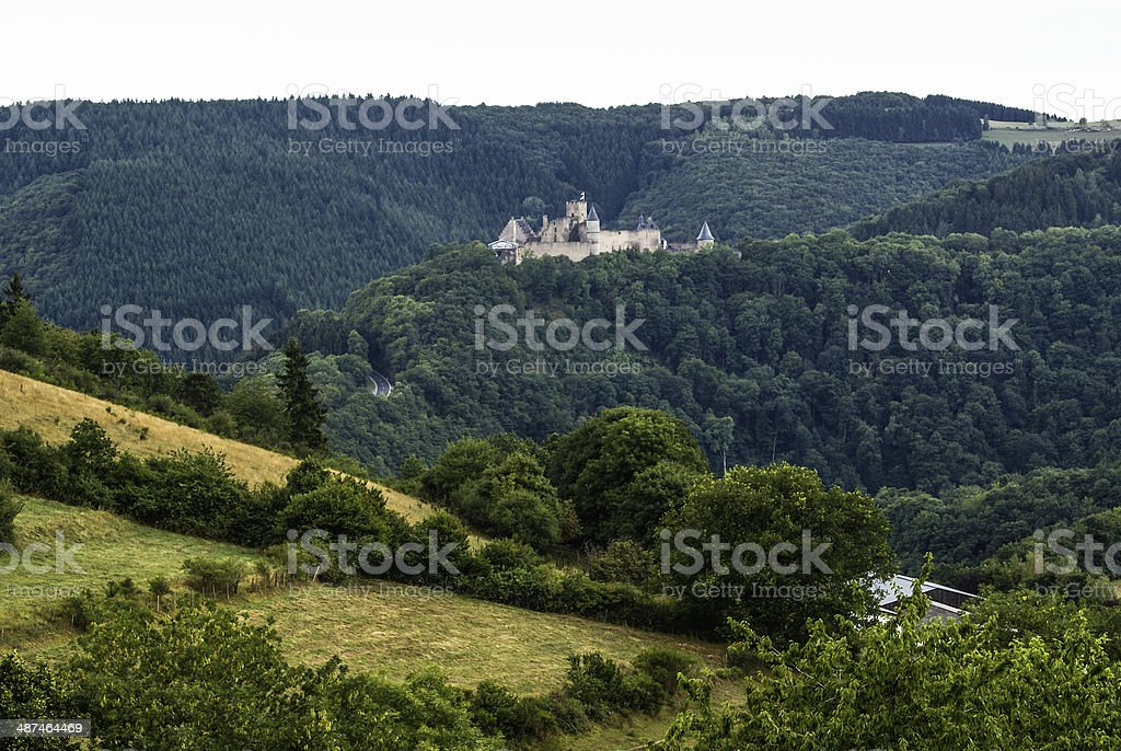Bourscheid Castle in Luxembourg stock photo