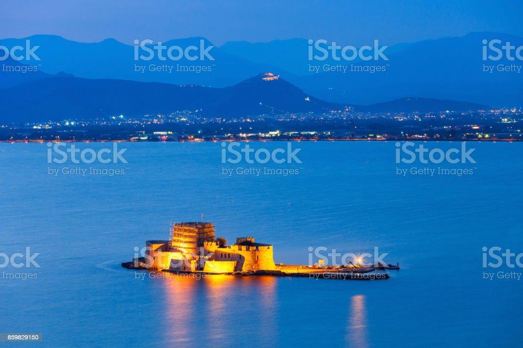 Bourtzi castle in Nafplio stock photo