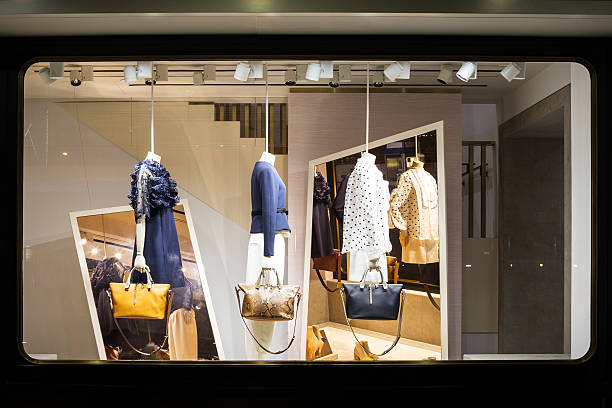 boutique fashion display window in shop - store window stock pictures, royalty-free photos & images