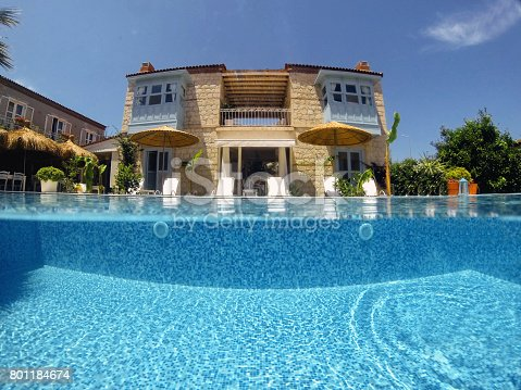 Boutique hotel from pool