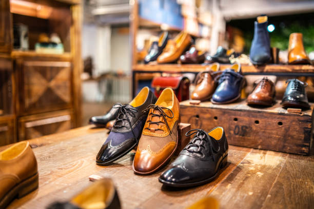 Boutique shoes in a store stock photo