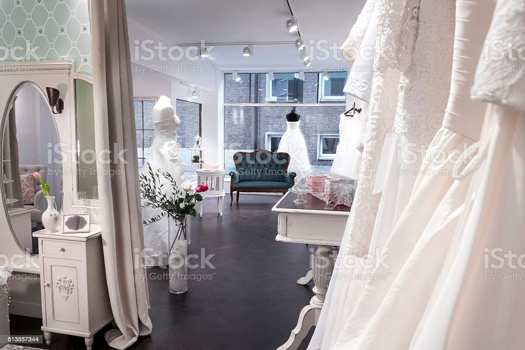 Boutique vintage bridal shop, changing area and window stock photo