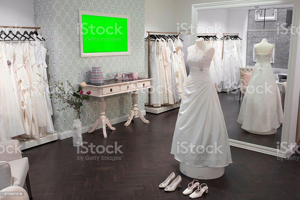 Boutique wedding dress store, bridal shop and lange mirror stock photo