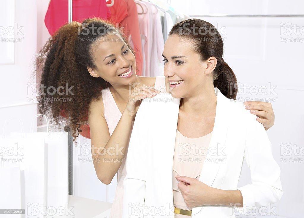 Boutique, women shopping stock photo