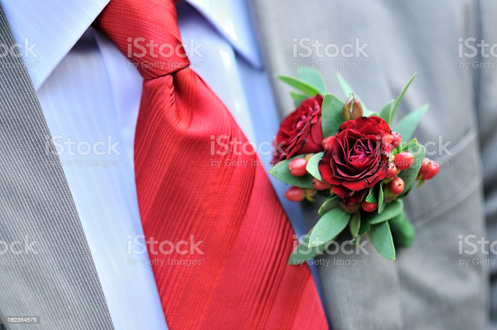 Boutonniere flowers stock photo