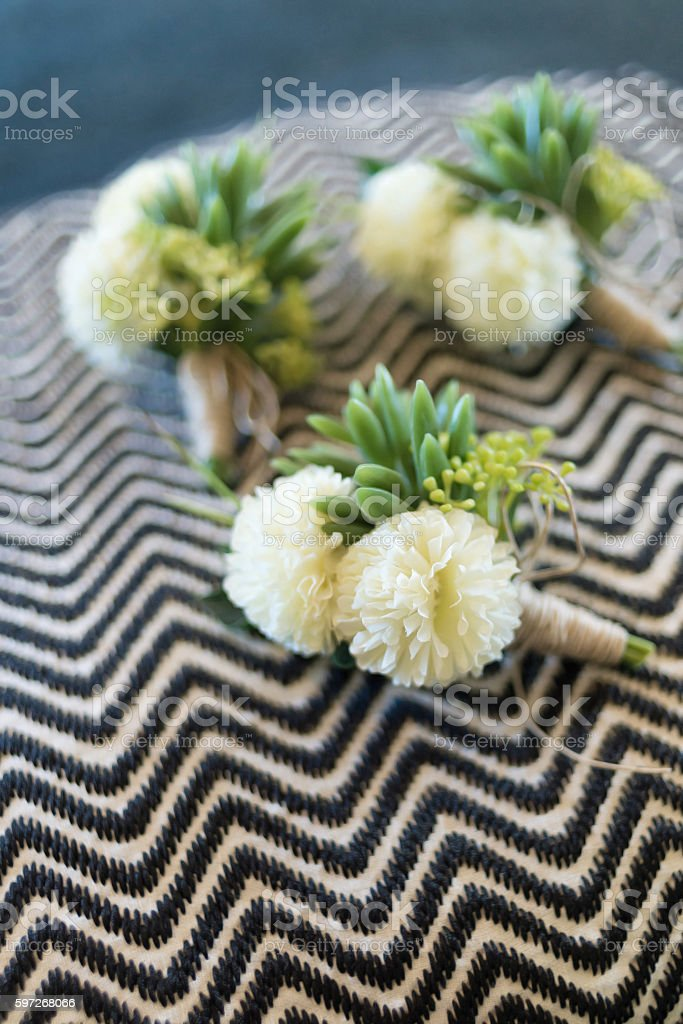 Boutonniere for groom and groomsman royalty-free stock photo