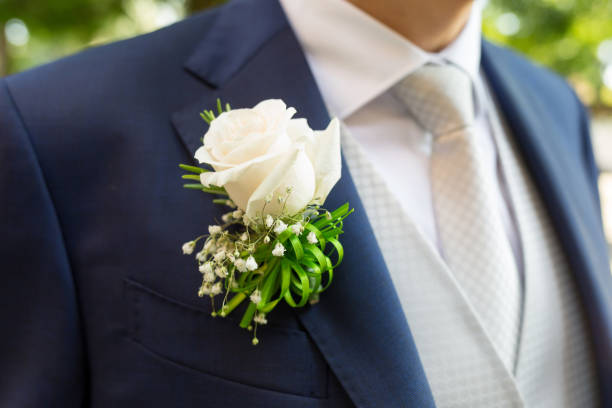 boutonniere in tuxedo stock photo