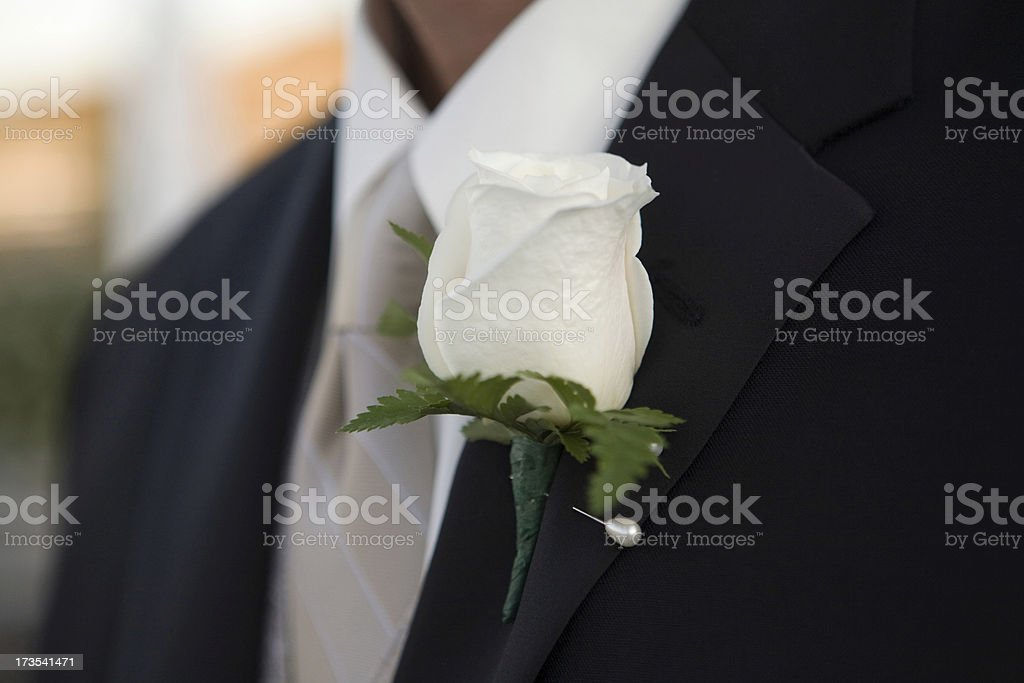 Boutonniere on a Tuxedo royalty-free stock photo