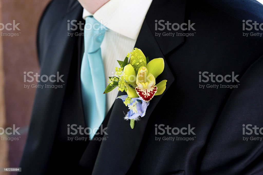 Boutonniere on Groom at Wedding royalty-free stock photo