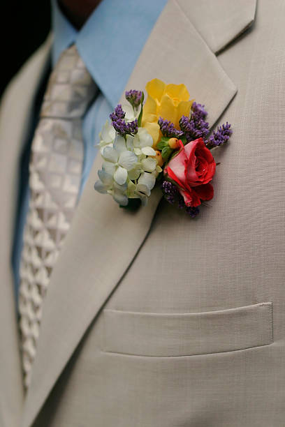 Boutonniere On Groom stock photo
