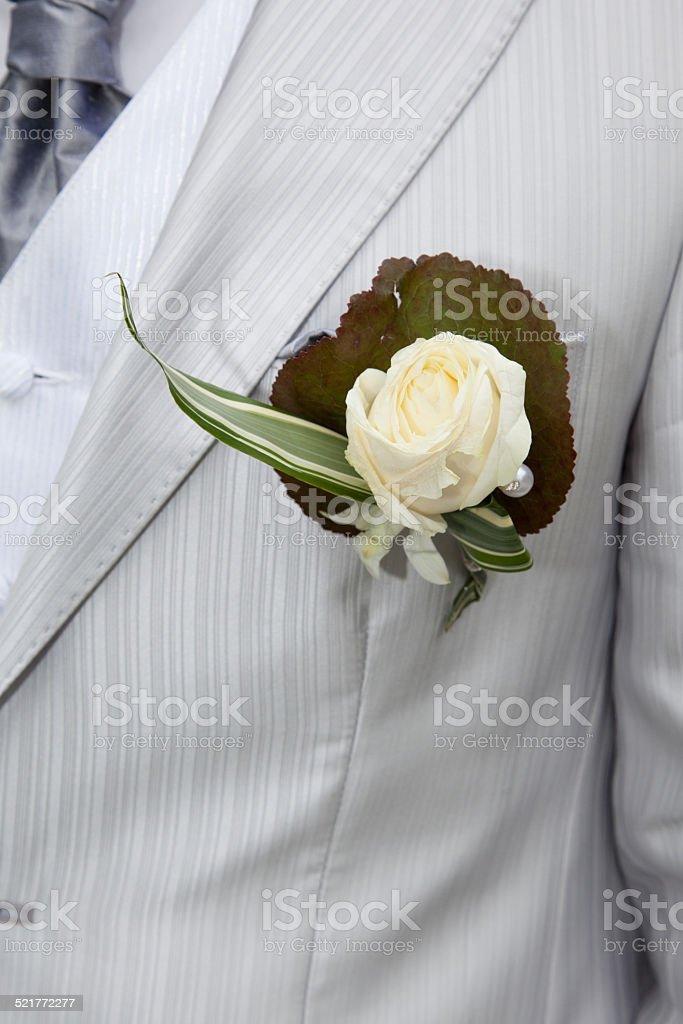 Boutonnière rose blanche stock photo